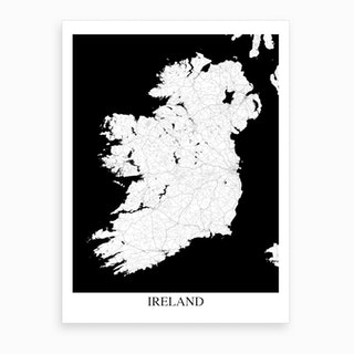 Ireland White Black Map Art Print