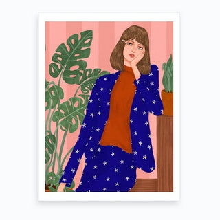 Fashion Model With Leaves Print Art Print