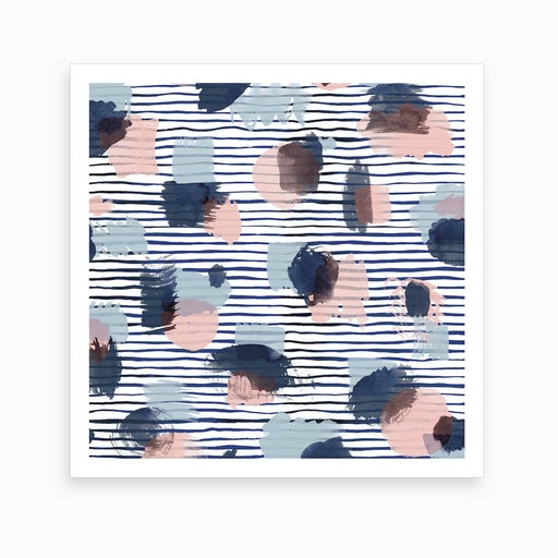 Watercolor Stains Stripes Navy Square Art Print