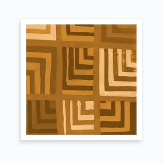 Painted Color Block Squares In Mustard Art Print