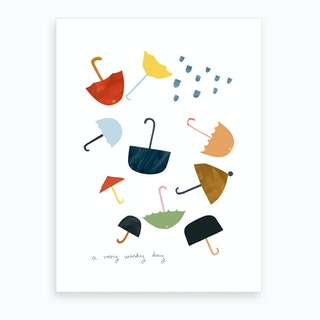 A Very Windy Day Art Print