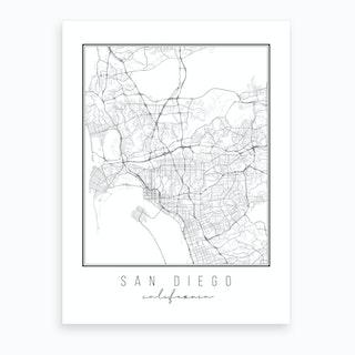 San Diego California Street Map Art Print