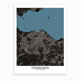 Edinburgh Black Blue Map Art Print