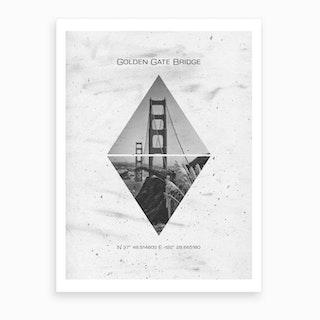 San Francisco Golden Gate Bridge Coordinates Art Print