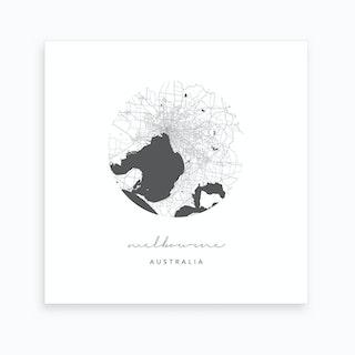 Melbourne Australia Circle Map Art Print