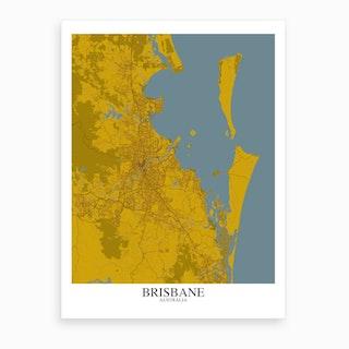 Brisbane Yellow Blue Map Art Print