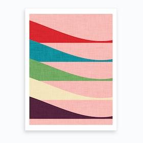 Mid Mod Waves Pink Art Print