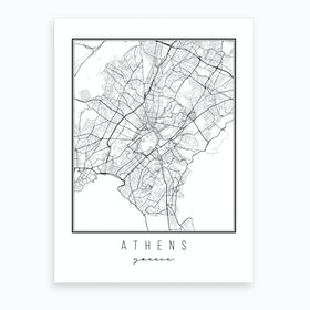 Athens Greece Street Map Art Print