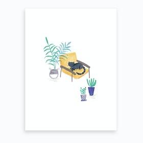 Painted Black Cat In Scandi Chair Art Print