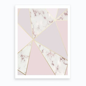 Rose Gold Baby Pink with Marble Abstract Shapes Art Print