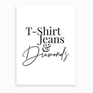 T Shirt Jeans And Diamonds Art Print