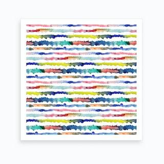 Gradient Watercolor Lines Blue Square Art Print