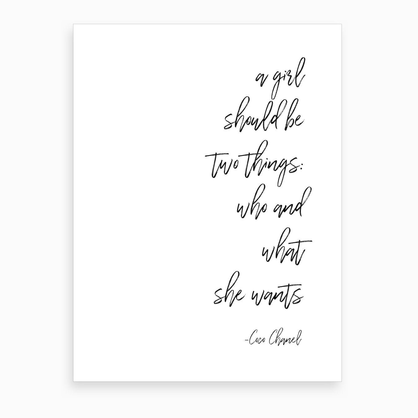 Girl By Coco Chanel Quote Art Print