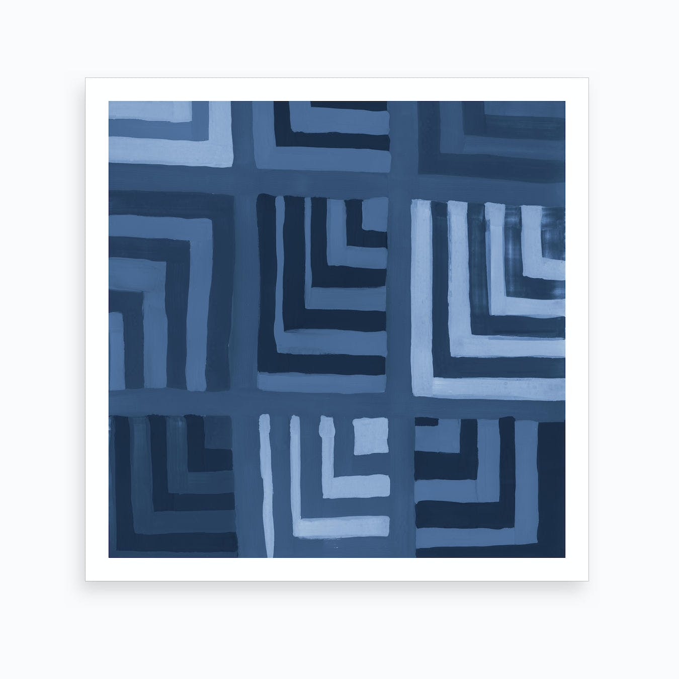 Painted Color Block Squares In Blue Art Print