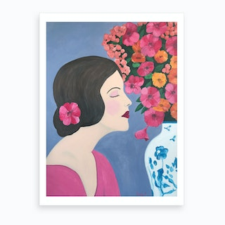 Woman With Chinoiserie Vase And Flowers Art Print