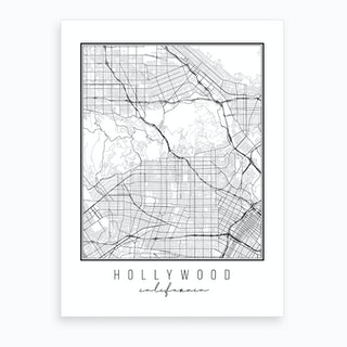 Hollywood California Street Map Art Print
