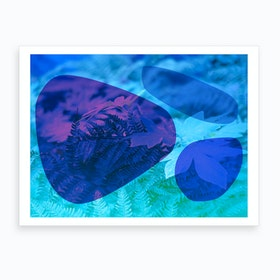 Abstract Blue Stones And Foliage Art Print