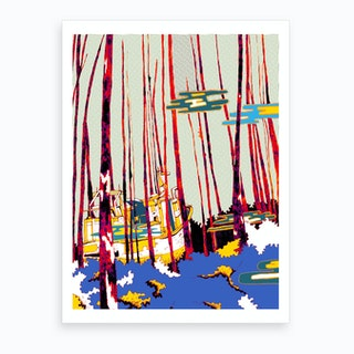 Boat In The Forest Art Print