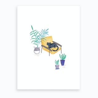 Painted Black Cat In Scandi Chair Art Print
