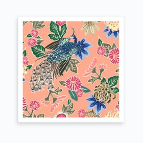 Peacocking In Pink Art Print