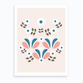Retro Beautiful Flower Composition Art Print