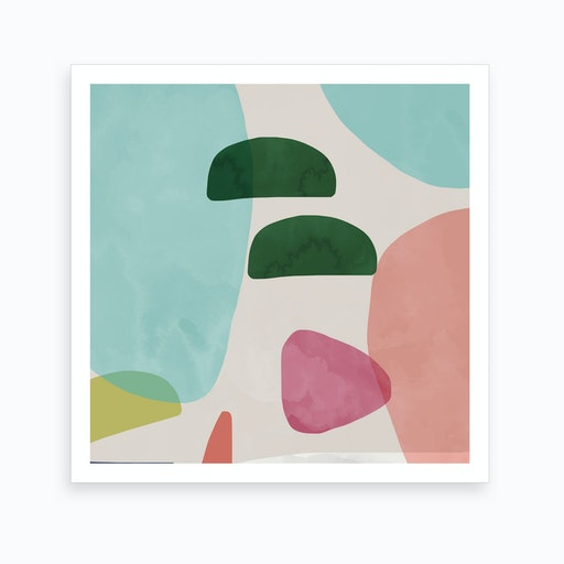 Organic Bold Shapes Square Art Print