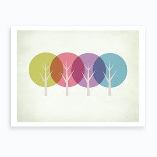 Four Trees Art Print