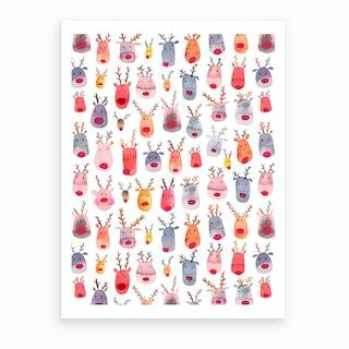 Cute Winter Reindeers Kids Art Print