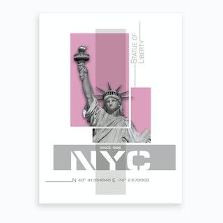 Poster Art Nyc Statue Of Liberty Pink Art Print