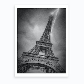 Paris Design Eiffel Tower Thunderstorm Art Print