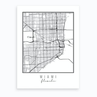Miami Florida Street Map Art Print