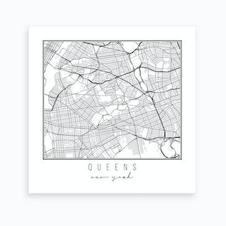 Queens New York Street Map Art Print