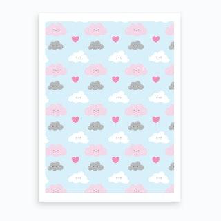Happy Clouds Pattern Art Print