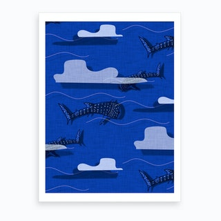 Whale Shark Blue Art Print