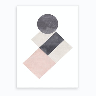 Pink Grey And Black Cotton Texture Abstract Rectangles Art Print