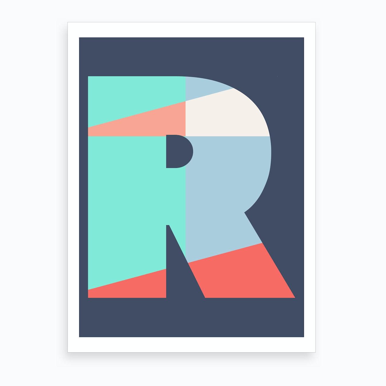 Letter Art Print.Letter R Art Print
