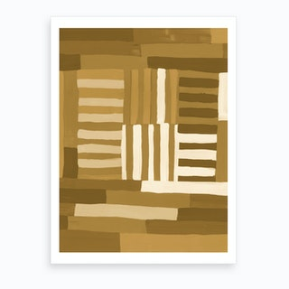 Painted Color Block Grid In Mustard Art Print