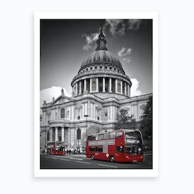 London St. Paul'S Cathedral & Red Bus Art Print
