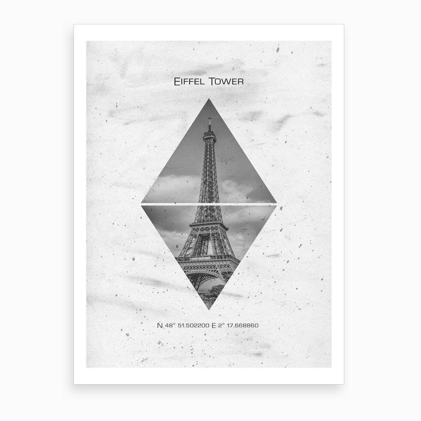 Coordinates Paris Eiffel Tower Art Print
