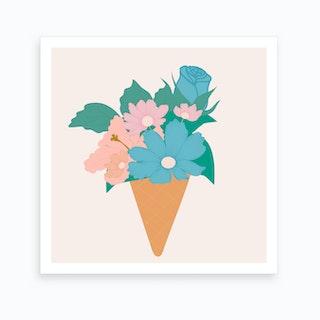 Blue And Pink Ice Cream Flower 2 Art Print