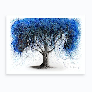 Blue Moonlight Tree Art Print