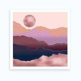 Golden Rose Mountain Square Art Print