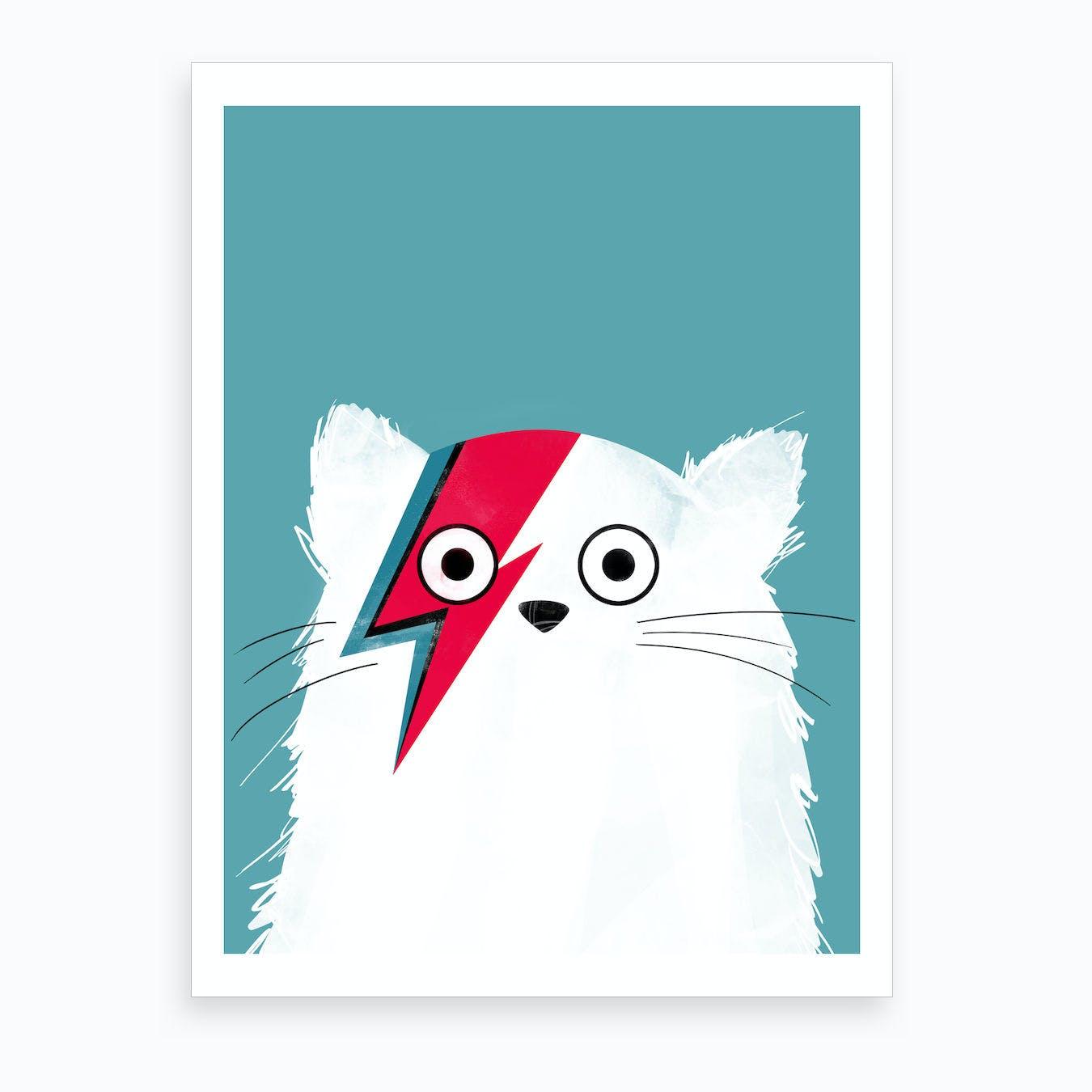 Cat Bowie   White Version Art Print