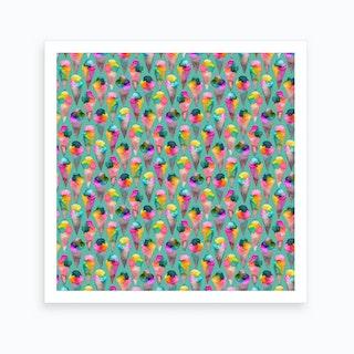 Cute Ice Creams Square Art Print