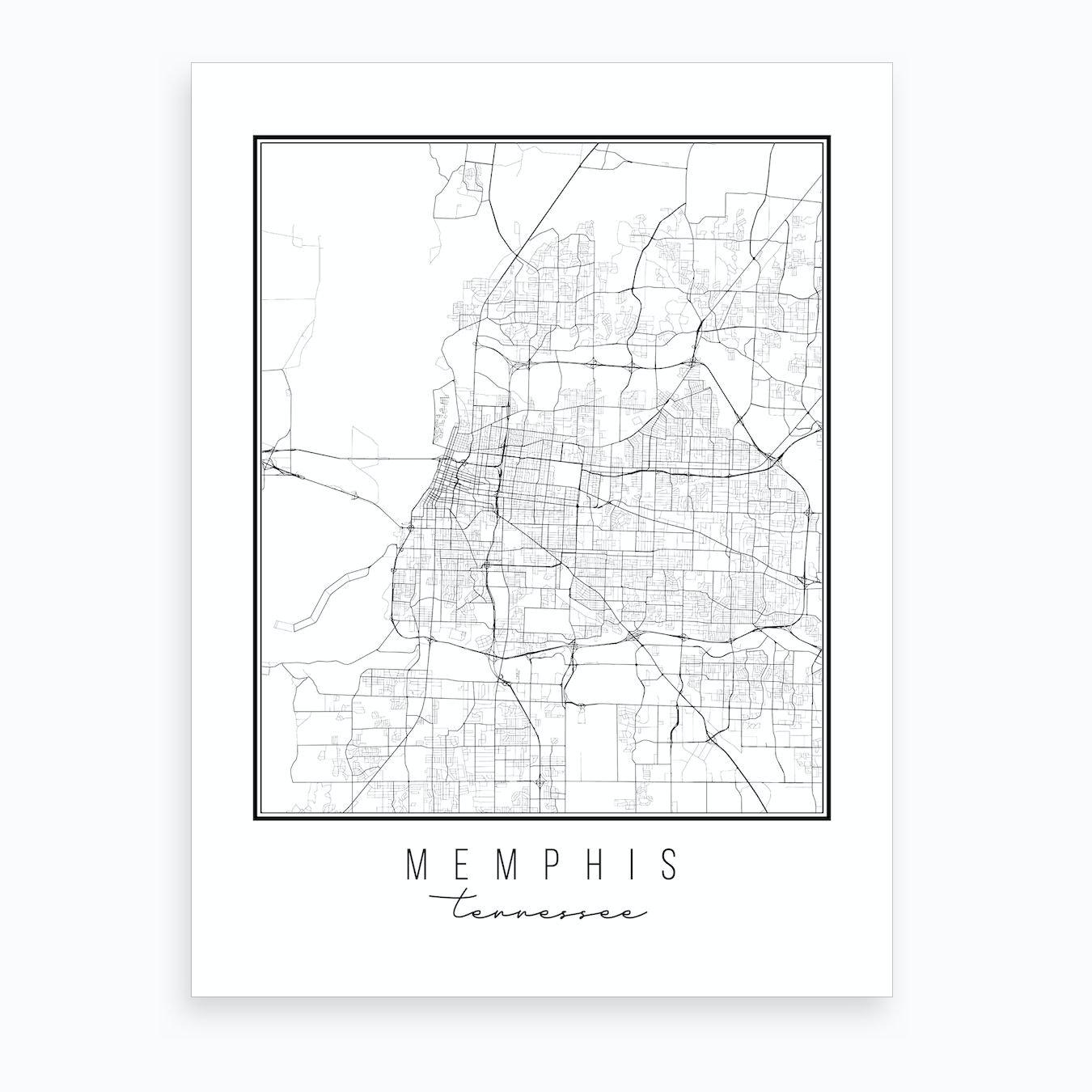 Memphis Tennessee Street Map Art Print