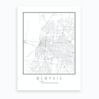 Memphis Tennessee Street Map Art Print