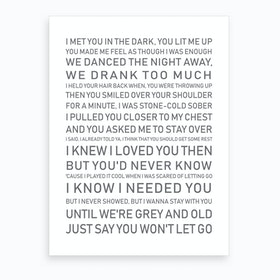 I Knew I Love You Then White Grey Text Art Print
