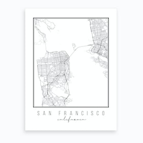 San Francisco California Street Map Art Print