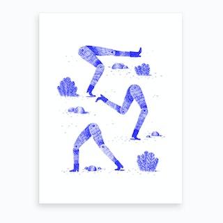 Silly Legs Blue Art Print