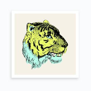Green Tiger Square Art Print